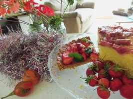 Strawberry Tart and Rhubarb Cake