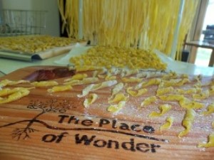 Hand-made Pasta laid out to dry